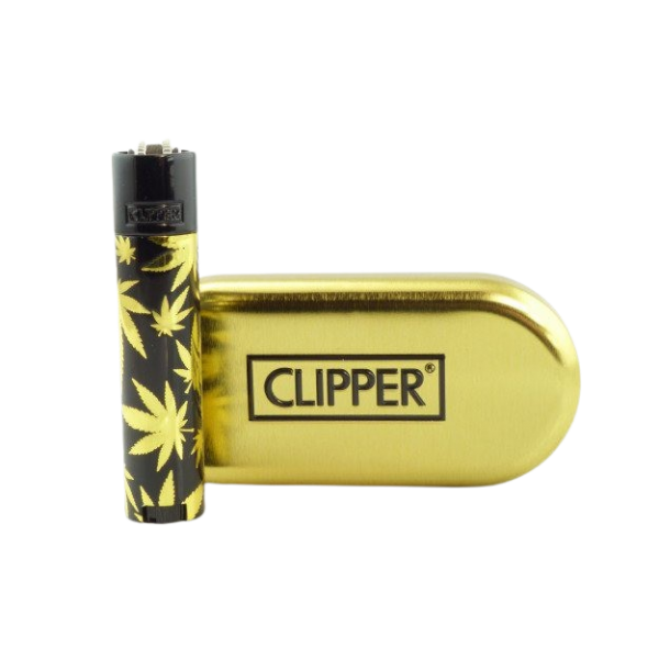 Clipper Metal Black Leaves Gold